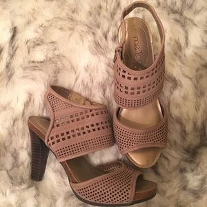 Size 8 Tan High Heel Strappy Sandals